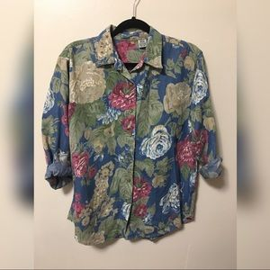 Vintage Floral Chambray Denim LongSleeve Button up